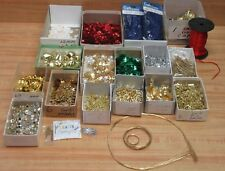Lot of Christmas Craft Supplies Gold Metal Filigree Findings Sequins Bells Wire