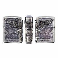 Zippo Harley Davidson Japan Limited 3-sides Metal Black Satin Silver HDP-28 New