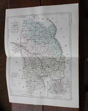 1850 Carte Géographique Atlas époque couleur Département 18 Cher Bourges