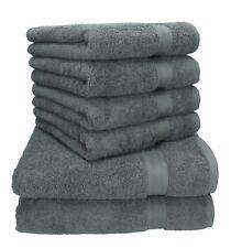 Betz Lot de 6 serviettes Premium 100% coton gris anthracite