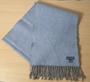Gant 100% Lambs Wool Scarf Made in Scotland - Light Blue / Grey in Colour