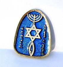 Blue Messianic Magnet Menorah-Star of David-Fish Hebrew Jewish Roots Holy Land
