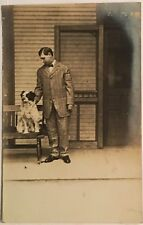 za42 RPPC Young Man with his Dog Early Real Photo PC