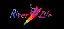 River Life with Kayak in Tie Dye Decal for Window/Car/Truck