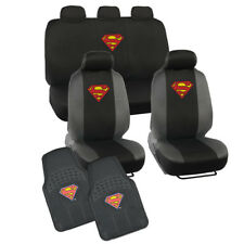 Superman Car Seat Covers + Floor Mat Full Front & Rear Set - Black/Gray - 11 PC
