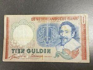 très beau billet des Pays Bas 10 Guldens 23 Mars 1953 état TB+/TTB