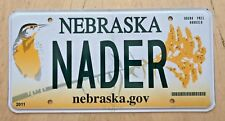 "GRAPHIC BIRD VANITY LICENSE PLATE "" NADER "" RALPH  CORVAIR UNSAFE AT ANY SPEED"