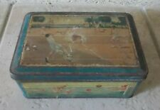 Vintage tin box advertising biscuits France french sport 50s cookies vintage vtg