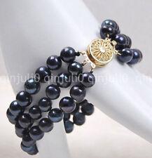 Women's Fashion 3Rows 7-8mm Natural Black Akoya Freshwater Pearl Bracelet  J3213