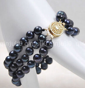 Women's Fashion 3Rows 7-8mm Natural Black Akoya Freshwater Pearl Bracelet 7.5''