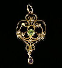 Antique victorian suffagette pendentif en or peridot améthyste perles circa 1900