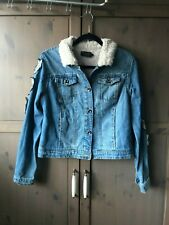 Blue Denim Sherpa Jacket with patches womens medium M L 10 12 WOLVES wilderness