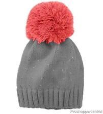 NEW Girls Accessories Rhinestone Pom Beanie Hat & Gloves Grey/Orange Set,4-16 OS