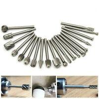 20Pcs HSS Carbide Rotary Burr Drill Bit Set Metal Grinder Carving Engraving Tool