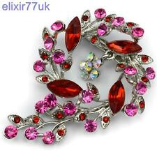"NEW 2.8"" SILVER / RED FLOWER BOUQUET BROOCH DIAMANTE CRYSTAL WEDDING PIN BROACH"