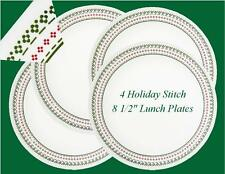"4 Corelle Winter HOLIDAY Cross STITCH 8 1/2"" LUNCH PLATES *Christmas RED GREEN"