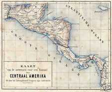Antique map Landkaart central America Amerika 1882