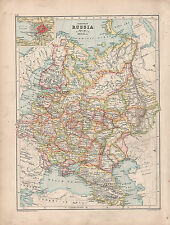 1902 ~ map Russia Europea ~ INSERTO SAN PIETROBURGO Caucaso vologda