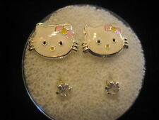 HELLO KITTY FACE Screw Back Child Character Earring with Stones in Silver