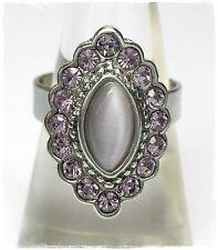 Neu RING Größenverstellbar STRASSSTEINE lila CAT EYE flieder/violett DAMENRING