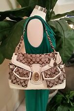 NEW Coach Leigh LEGACY Stripe Limited Edition Flap Purse Bag Ivory RARE $598MSRP