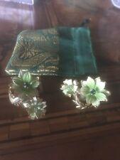 Vintage '60 Green Flower Earrings Anni 60 Fiore Verde