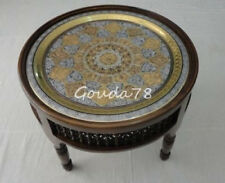 "Handcrafted Middle Eastern Moroccan Round 28"" Brass Tray Coffee Table"