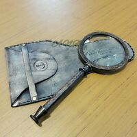 Antique Brass Magnifying Glass Magnifier With Leather Cover Collectible Item