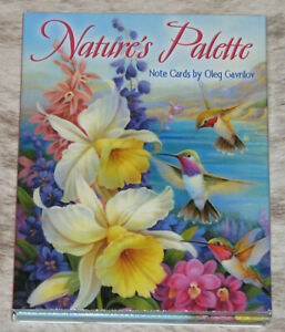LEANIN TREE Nature's Palette 12 Note Cards #34701~3 each 4 designs~Color Inside~