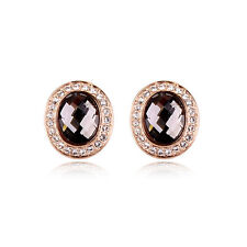GORGEOUS 18K GOLD PLATED GENUINE SMOKEY GREY CUBIC ZIRCONIA OVAL STUD EARRINGS