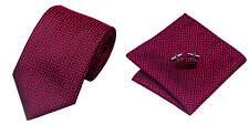 Red Black Novelty 100% Silk Classic Mens Necktie Tie Hanky Cufflink Set NT122