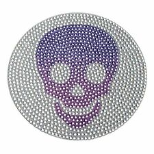 Rhinestone Sticker Decal Purple Scull large 5 inch bling laptop tablet