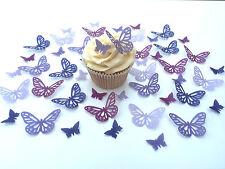 48 commestibili TONI VIOLA FARFALLE TASTINI WAFER decorazioni per cupcake