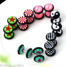 12Pcs Fake Ear Plug Stud Earrings Tunnel Stretcher Expander Cheater Expansion
