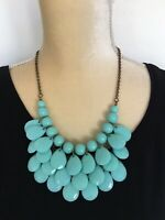 Vintage Bib Necklace Faceted Turquoise Plastic Beads 1950s Style