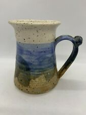 """Art Pottery Speckled Coffee Mug Cup Stoneware W/Handle 5"""" Signed Blue Sand"""