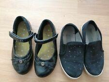 Clarks Black Girls School Shoes 12G wide Fit & PE Canvas shoes