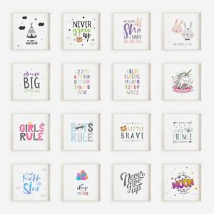 Square Nursery Pictures for Baby Boys or Girls Bedroom - Art Decor-  Prints