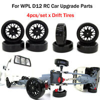 For WPL D12 RC Car Parts 4pcs Plastic Modified Drift Tires Racing Car Tires