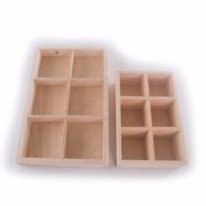 Wooden Open Storage Display Box With 6 Compartments / Shelf / Desktop Organiser