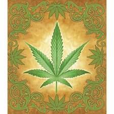 King Queen Bed Spread Of Marijuana Leaf Lush Feel Brilliant Colors