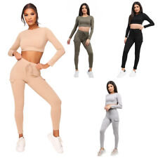 Womens Ribbed Crop Top Pocket Combat Style Skinny Trouser Co ord Loungewear Size