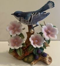 Andrea By Sadek Cerulean Warbler with Flowers Porcelain Bird Stunning