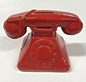 Red Rotary Telephone Coin Piggy Bank
