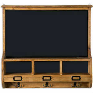 "24"" Acacia  Wood Chalkboard Wall Unit with Hooks"