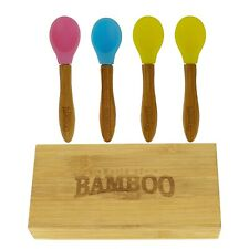 Natural Bamboo Baby Weaning Feeding Spoons for Babies Toddler Set of 4 with Box