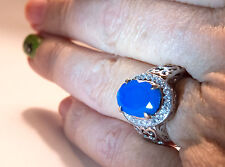 SALE !!!  14K WG Gorgeous Best Color Blue Opal And Diamond Ring -  5.33grams.