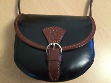 New ladies cross body black & brown  bag, genuine Italian leather, vera pelle