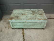 Vintage Custom Made Wood Storage Chest Trunk Distressed Rustic Work Carpenter