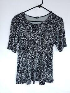 Torrid Womens Plus Size 1 1X Gray Leopard Print Top Short Sleeve Blouse